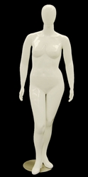 Glossy or Matte White Female Plus Sized Mannequin with her Arms at her sides from www.zingdisplay.com
