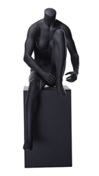 Matte Grey Headless Female Mannequin.  Athletic form great for displaying activewear. She is sitting on a stool, tying her shoes.