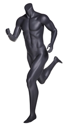 Matte Grey Headless Grey Male Mannequin.  Athletic form great for displaying activewear. He's running in a jogging.