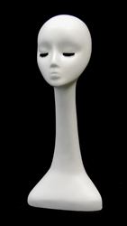 Abstract Display Head with Long Neck and Closed Eyes in White