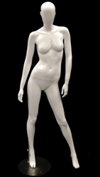White Mannequin Abstract Head Female right hand on hip