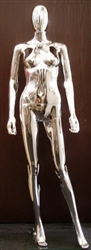 Unbreakable Plastic Female Egghead Mannequin in Glossy Chrome from Zing Display.