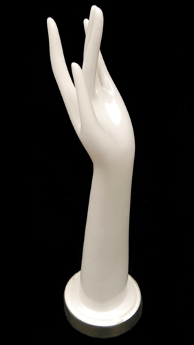 "16"" Ladies Left Hand in White Plastic for jewelry or glove displays from www.zingdisplay.com"