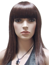 Brunette Strait Hair Mannequins wig with Bangs
