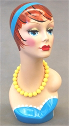 Vintage Painted Female Display Head.
