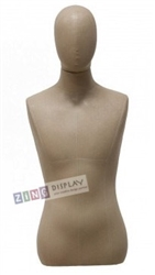 Tan/Beige Linen Male 1/2 Torso Display Form with Removable Head