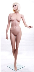 Standing Female Mannequin in a walking pose and Realistic Facial Features from www.zingdisplay.com