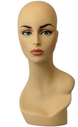 Fleshtone Display Female Head Full Makeup.   Nice counter top head display for jewelry, hats or wigs