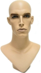 Full Made Up Male Head DIsplay w/ V-Neck.   Nice counter top head display for jewelry, hats or wigs