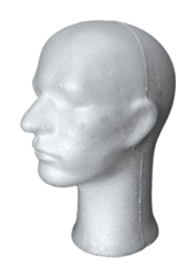 "Basic Male Styrofoam Head Display White measuring 12"" tall.  Simple way to show off hats, wigs and any head gear."
