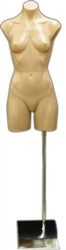 Armless Female 3/4 Torso Form in Tan Plastic