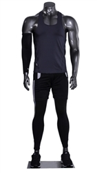 Athletic Headless Male Mannequin Glossy Gray