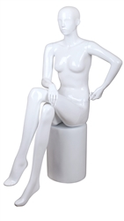 White Mannequin Abstract Head Female Seated Pose