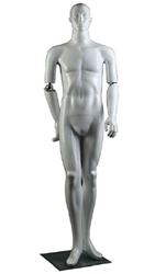Abstract Facial Features Male Mannequin with Movable Elbow.