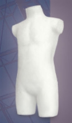 Unbreakable 3/4 Male Torso Form in White from www.zingdisplay.com