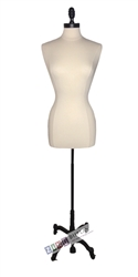 Female Dress Form Mannequin with Black Metal Finial Neck Block and Tripod Base