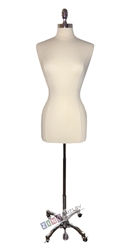 Female Dress Form Mannequin with Polished Chrome Neck Block and Wheeled Base