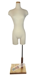 Female Torso Form with Flat Wood Neck Block and Rectangle Base. Pinable for all of your sewing needs.