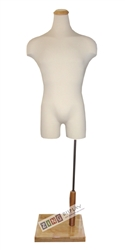 Pinable Male Torso Form Mannequin with Natural Flat Wood Neck Block and Rectangular Base