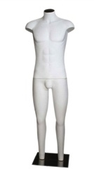 White headless male mannequin with stub arms