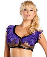 Purple Feather Edge Mesh Crop Top