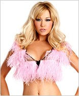 Pink Ostrich Feather Crop Top