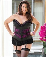 Plus Size Corset With Floral Lace Overlay