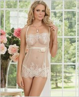 Rigid Eyelash Lace Babydoll And G-String Set CQ-7008