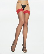 Leg Avenue® Sheer Thigh Highs With Red Lace Top LA-1012