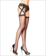 Leg Avenue® Criss Cross Sheer Garter Belt Stockings LA-1653