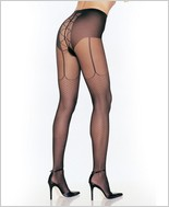 Leg Avenue® Pantyhose With Mock Lace Up Garter Belt  LA-7520