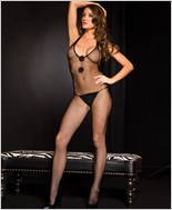 Fishnet Bodystocking With Tie Back ML-1075