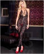 Floral Lace Footless Bodystocking ML-1098