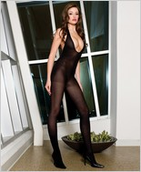 Music Legs® V-Neck Opaque Bodystocking ML-1397