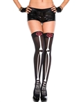 Skeleton Print with Top Rose Design Stockings ML-4336