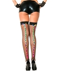 Rainbow Lacing Backseam Mini Diamond Net Stockings ML-4643