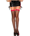Two Tone Mini Lace Top Fishnet Thigh High Stockings ML-4907