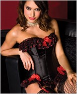 Lace Trim Corset And G-String Set ML-52036