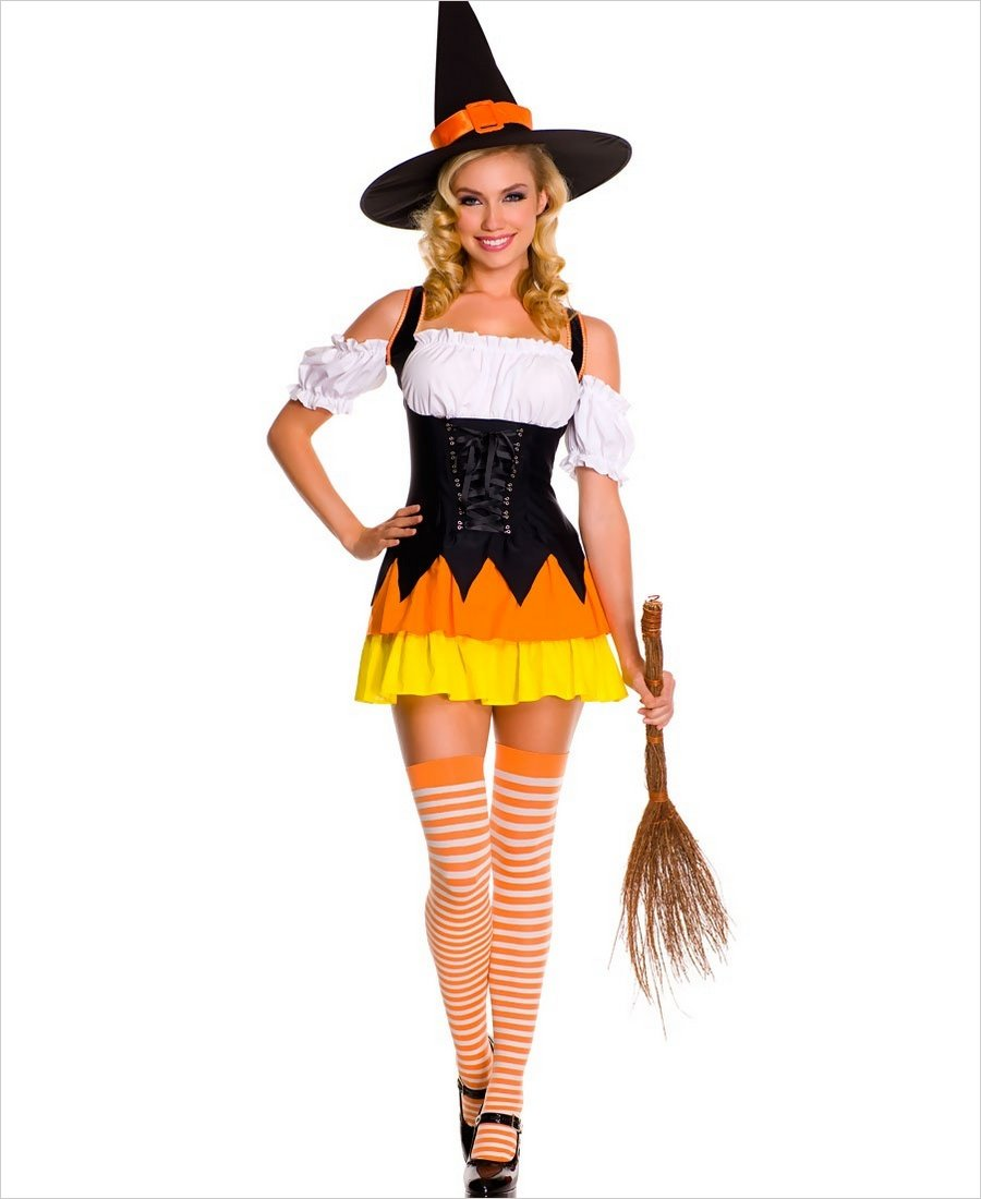 Chic candy corn witch costume ...  sc 1 st  Lingerie 4 Wholesale & Chic Candy Corn Witch Costume ML-70422
