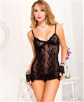 Music Legs® Lace Side Slit Cami With Matching String Thong ML-9132