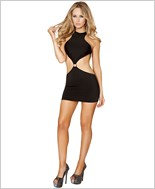 Cropped Top Open Back Mini Dress RC-3127-Black
