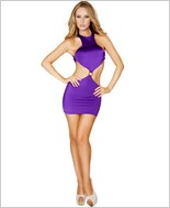 Cropped Top Open Back Mini Dress RC-3127-Purple