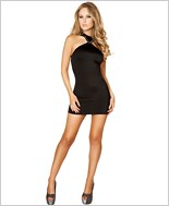 Cropped Mini Dress with Open Back RC-3129-Black