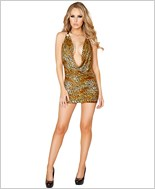 Cowl Neck Mini Dress with O-Ring RC-3131-Cheetah