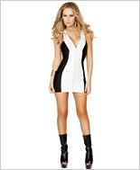 Mini Dress with Full Zip up Front RC-3139-White