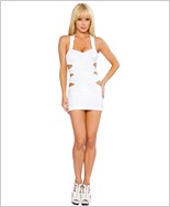 Mini Dress with Multi Cut out Side Details  RC-3140-White