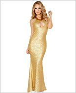 Sequin Gown with Cutout Front and Open Back RC-3154-Gold