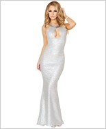 Sequin Gown with Cutout Front and Open Back RC-3154-Silver