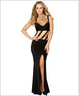 Gown with Slit Front and Diagonal Straps RC-3165