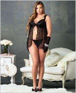 Plus Size Lace Babydoll And G-String Set La-86540Q